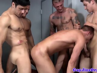 Gay orgy closeup with..