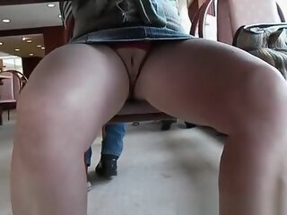 Fat shaved pussy under cafe..